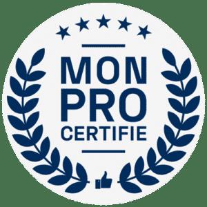 Logo de l'entreprise monprocertifie de couleur bleu sur fond blanc